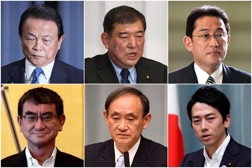 (Clockwise from top left) Taro Aso, Shigeru Ishiba, Fumio Kishida, Shinjiro Koizumi, Yoshihide Suga and Taro Kono.