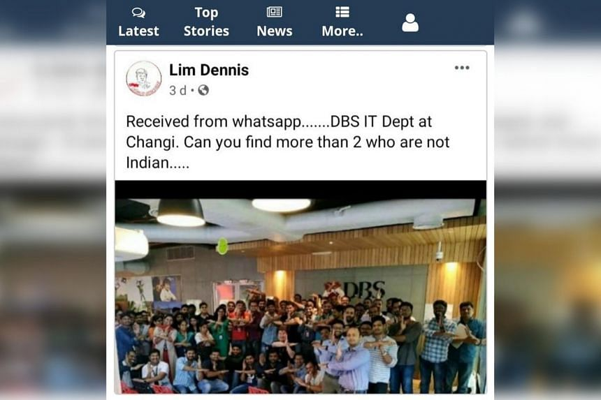 One of the photos purportedly claiming to be taken in a DBS Bank office in Singapore was posted on Facebook. The claims were debunked by the bank, which clarified that the images were from its office in India.