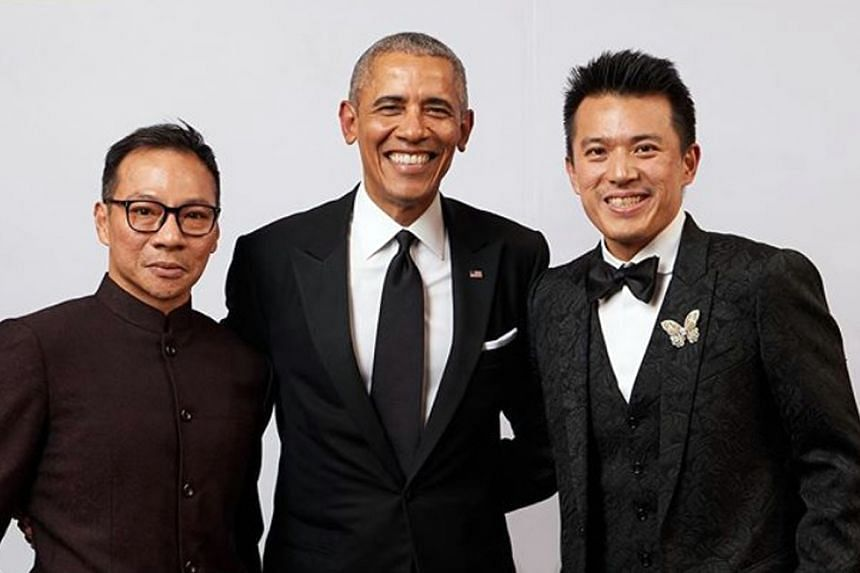 Mr Terence Loh (left) and Mr Nelson Loh (right) with former US president Barack Obama in Dec 14, 2019, at a charity event they sponsored.