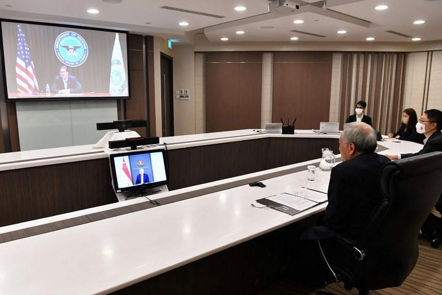 Defence Minister Ng Eng Hen during the video conference with US Defence Secretary Mark Esper on Aug 31, 2020.