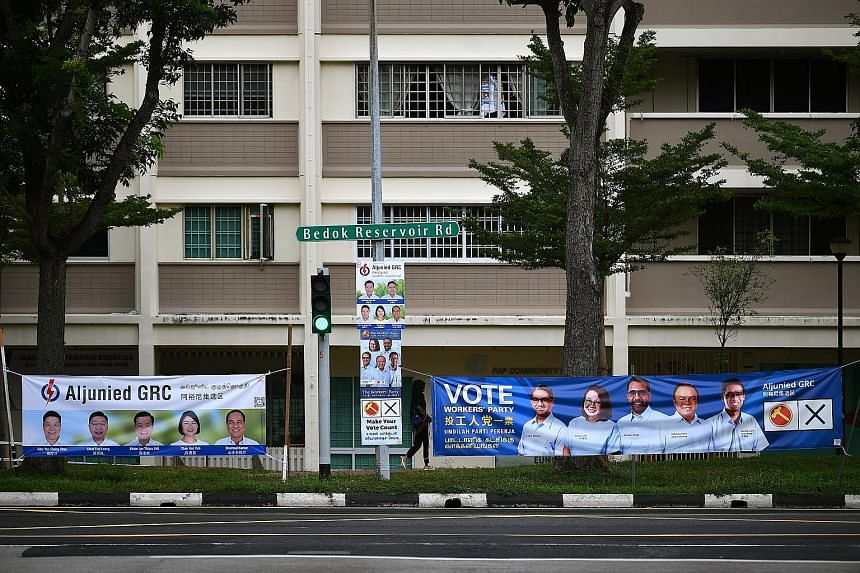 Election campaign banners and posters for the People's Action Party and Workers' Party teams contesting in Aljunied GRC during the general election. The Elections Department said it received more than 220 complaints and pieces of feedback during the