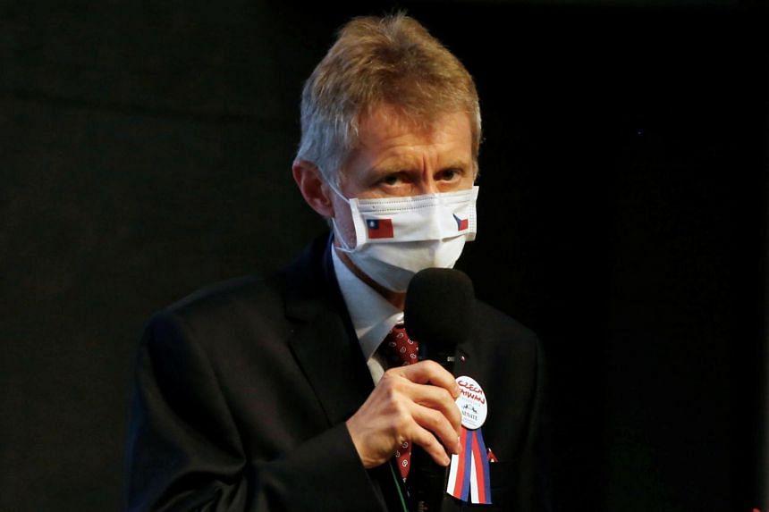 Czech Senate speaker Milos Vystrcil  spoke in Czech in comments translated into Mandarin.