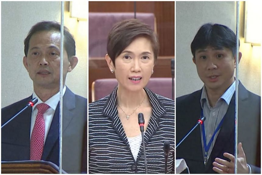 (From left) NCMP Leong Mun Wai sparked a debate in Parliament, with Manpower Minister Josephine Teo fielding questions from opposition MPs, including Dr Jamus Lim.