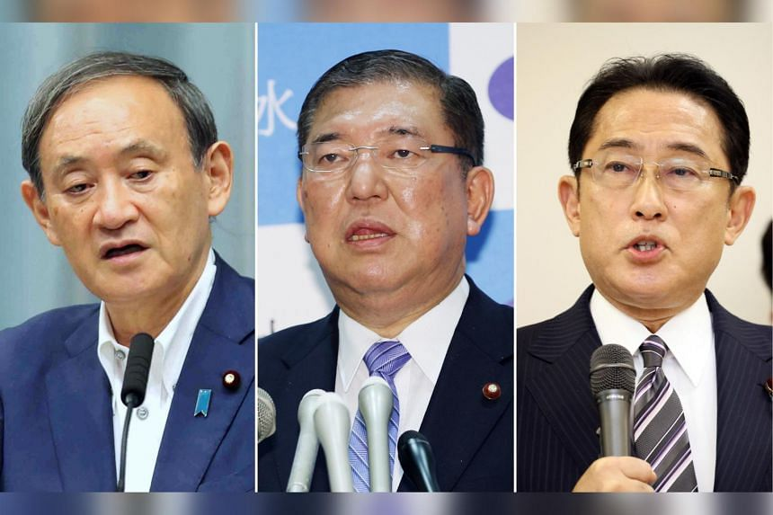 (From left) Japan's Chief Cabinet Secretary Yoshihide Suga, former defence minister Shigeru Ishiba, LDP policy chief and former foreign minister Fumio Kishida are contenders in the leadership contest.