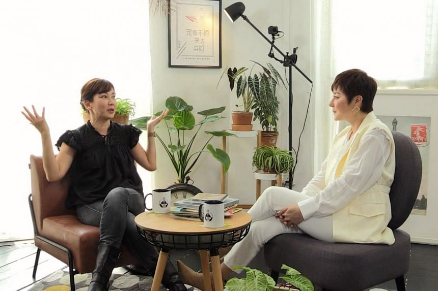 (From right) Host Quan Yifeng interviews guests such as Kym Ng for her weekly talkshow Hear U Out.