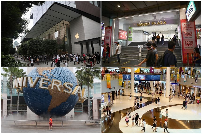 Places visited by infectious Covid-19 patients include (clockwise from top left) Apple Orchard Road, Lucky Plaza, VivoCity and Universal Studios Singapore, said MOH on Sept 2, 2020.