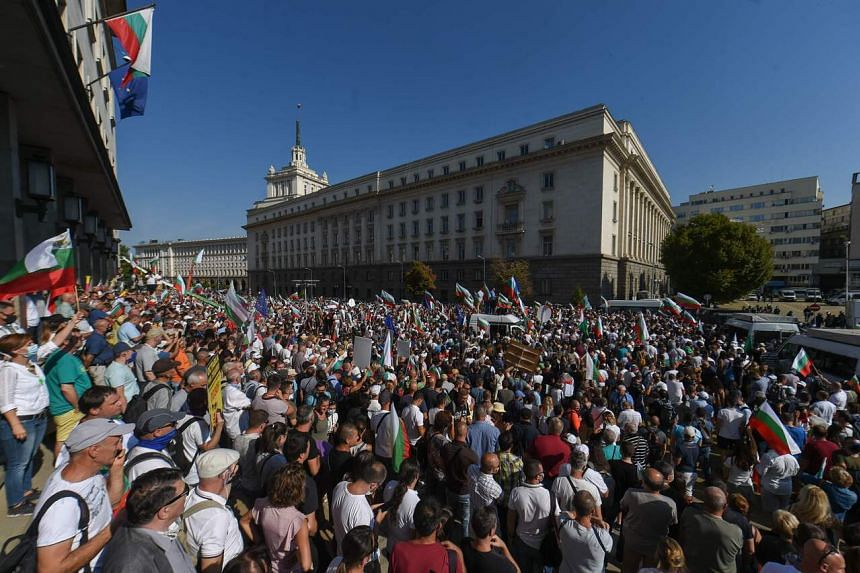 Protesters gather during an anti-government demonstration in Sofia, on Sept 2, 2020.