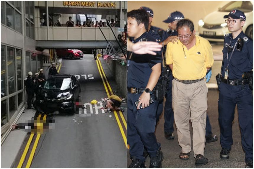 Malaysian Chong Kim Hoe allegedly drove onto a nearby footway, through a guard rail and onto a Lucky Plaza service road.