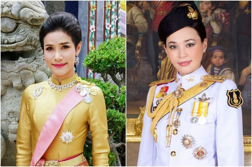 Before her dismissal, Ms Sineenat Wongvajirapakdi (left) held the rank of major-general in the King's royal bodyguard unit where Queen Suthida (right) was the deputy chief.