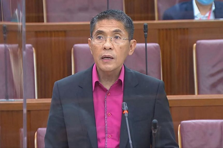 Minister in the Prime Minister's Office Maliki Osman speaking in Parliament on Sept 3, 2020.