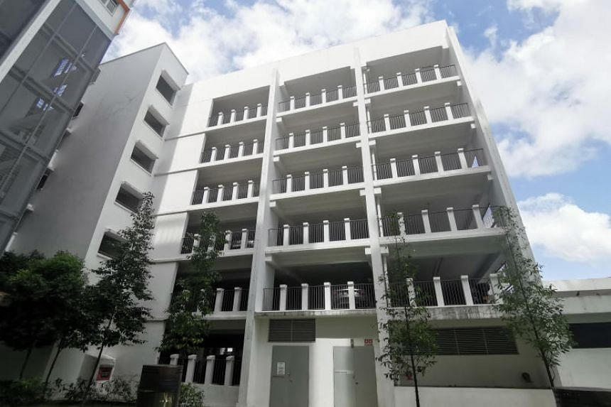 The carpark at Blk 526A Pasir Ris Street 51 where a girl is believed to have fallen to her death on Jan 8.