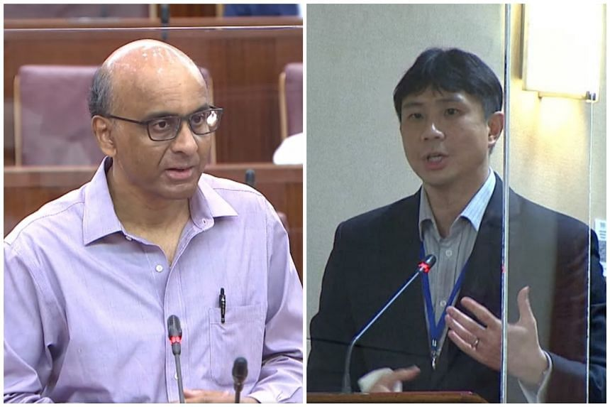 """Senior Minister Tharman Shanmugaratnam (left) also had a piece of advice for Workers' Party MP Jamus Lim: to avoid """"strawman arguments""""."""