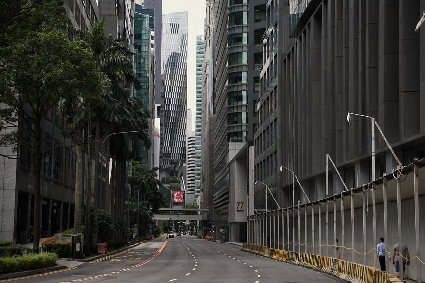An almost empty Central Business District during the circuit breaker on May 27, 2020.