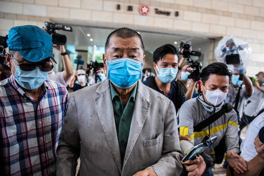 Media mogul Jimmy Lai outside the West Kowloon court in Hong Kong on Sept 3, 2020.