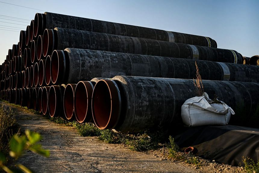 Sections of pipeline at Mukran port in Sassnitz, Germany, on Aug 16, 2020.
