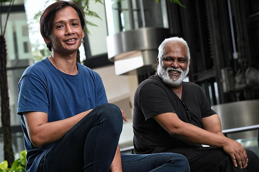 Mr Rahman Sanip, 45, with Dr. S Chandrasekaran, 60, head of McNally School of Fine Arts at Lasalle College of the Arts. Mr Rahman, a former drug addict who developed his passion for art while he was in prison, is pursuing a fine arts diploma and hope