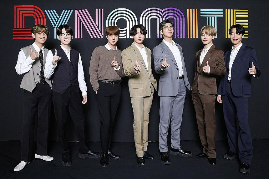 BTS at an online press conference in Seoul on Wednesday.