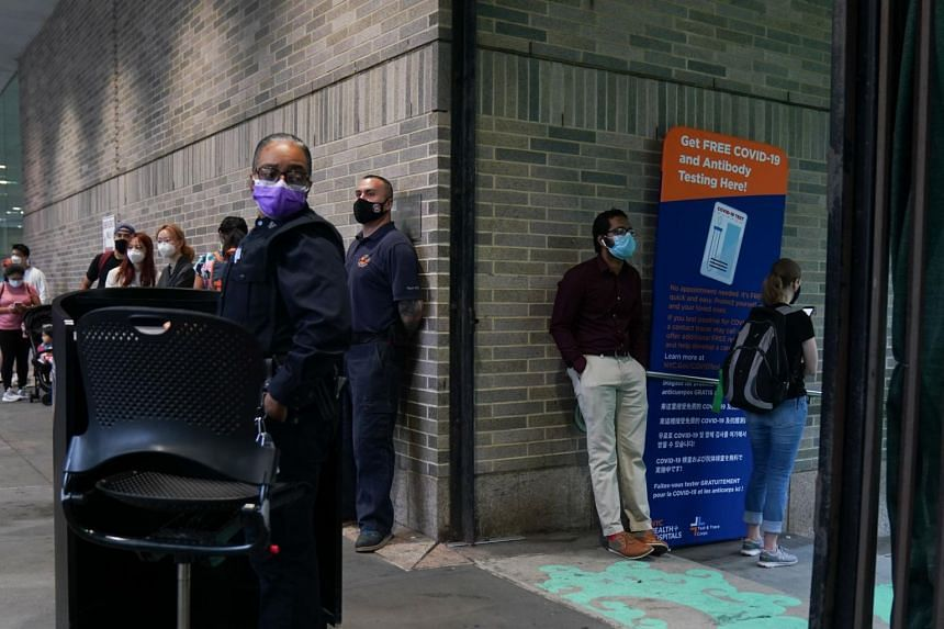 People queueing for the free Covid-19 antibody testing at Bellevue Hospital on Aug 19, 2020, in New York.