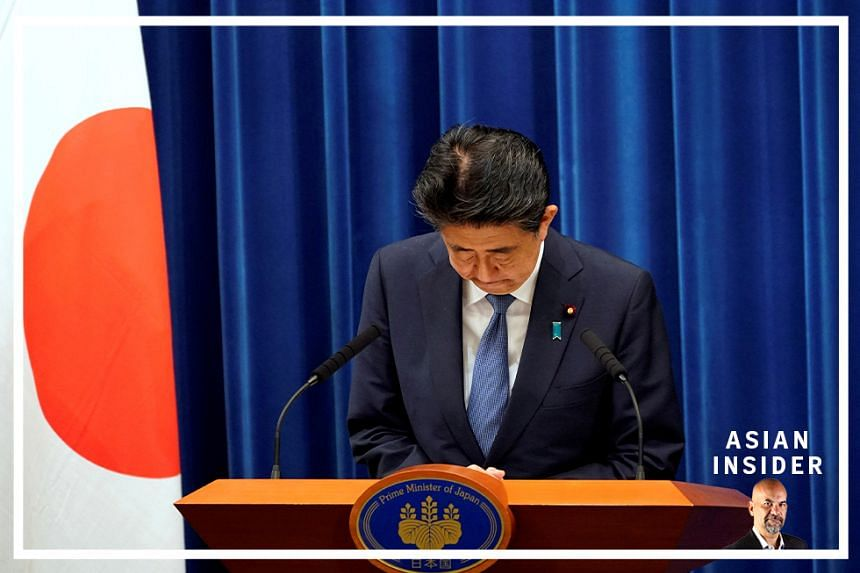 Japanese Prime Minister Shinzo Abe bows during a news conference at the prime minister's official residence in Tokyo, Japan, August 28, 2020
