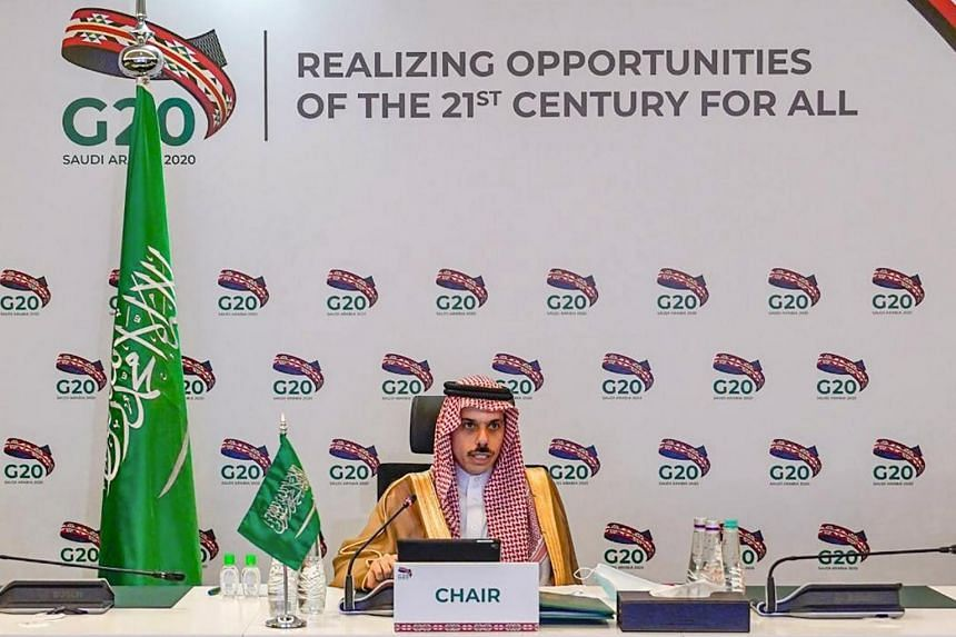 Saudi Foreign Minister Prince Faisal bin Farhan addressing the virtual meeting of G20 Foreign Ministers on Sept 3, 2020.