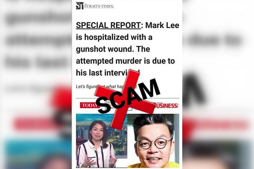 Mark Lee posts photos of a fake news report claiming that he was hospitalised with a gunshot wound.