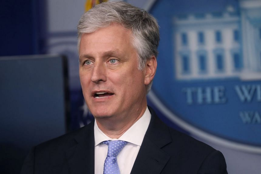 National Security Adviser Robert O'Brien speaks during a press briefing at the White House.