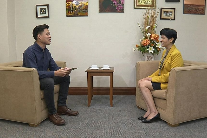 Leader of the House Indranee Rajah speaking to multimedia journalist Dylan Ang of The Straits Times yesterday. She said in the interview that constructive discourse can be achieved in the House, as long as all MPs remember to put the well-being of Si
