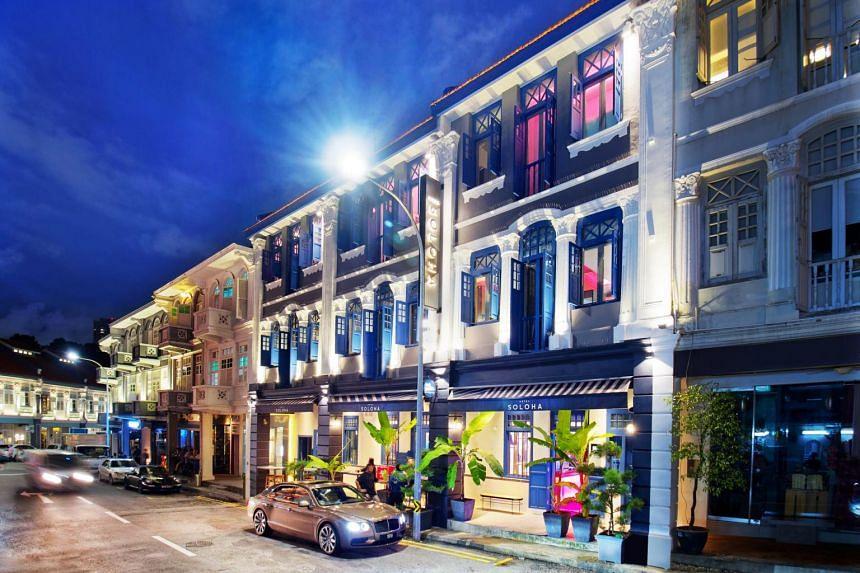 Hotel Soloha on Teck Lim Road is built across three adjacent heritage shophouses.