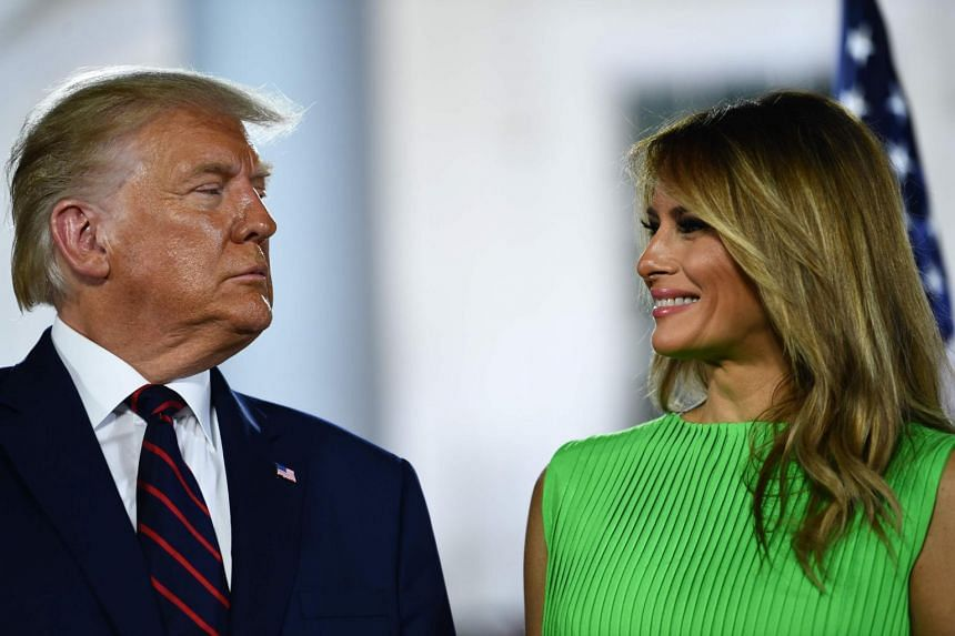 US First Lady Melania Trump (right) smiles to US President Donald Trump in Washington, US, on Aug 27, 2020.