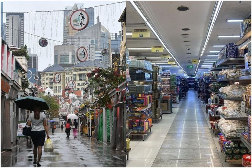 Shops in Pagoda Street (left) have been badly hit by the pandemic, and aisles were empty on Friday at Mustafa Centre, which till recently was a hot 24-hour shopping location.