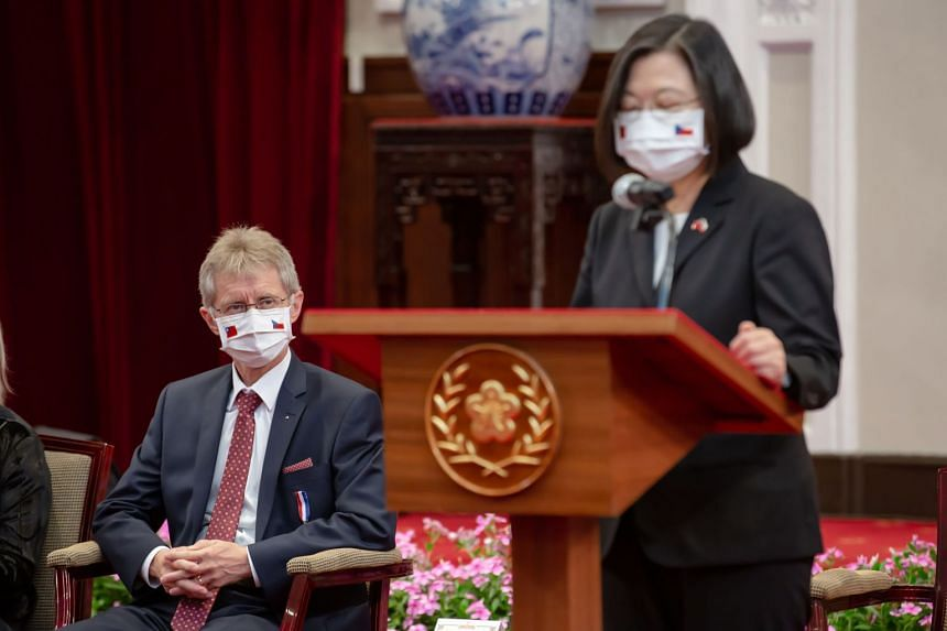 Milos Vystrcil looks on as Taiwan President Tsai Ong-wen speaks at the Presidential Office in Taipei on Sept 3, 2020.