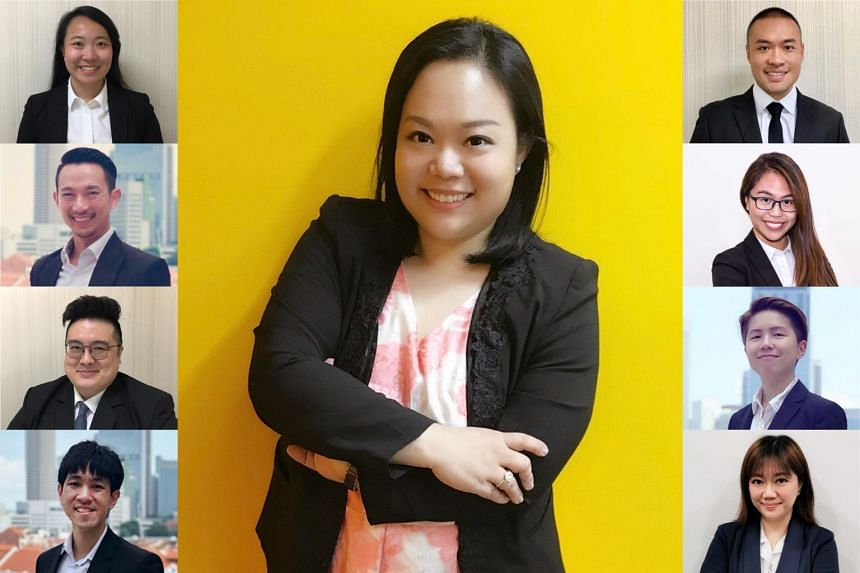 Managing director of Yeo & Associates LLC Beatrice Yeo (pictured, centre) and her team of specialist family lawyers and legally-trained legal managers. Left column, from top: Ms Germaine Tan, legal associate; Mr Yu Gen Xian, Ryan, associate director;