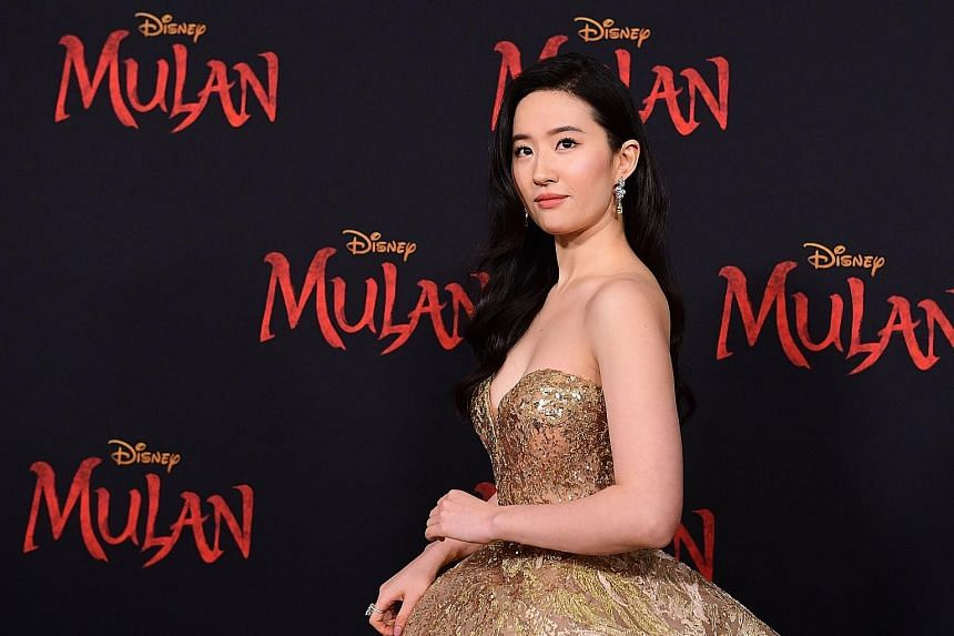 Actress Liu Yifei at the Mulan world premiere in Hollywood in March. She reportedly posted on social media last year, amid widespread protests, that she supported the Hong Kong police.