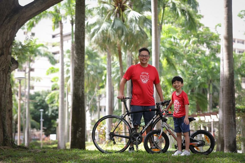 Dennis Tan and his son Ethan are first-time participants at the OCBC Cycle, which has gone virtual this year.