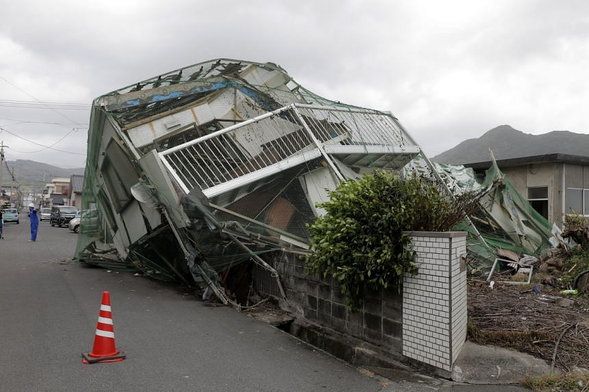 A collapsed house in Makurazaki, Japan, on Sept 7, following the passing of Typhoon Haishen.