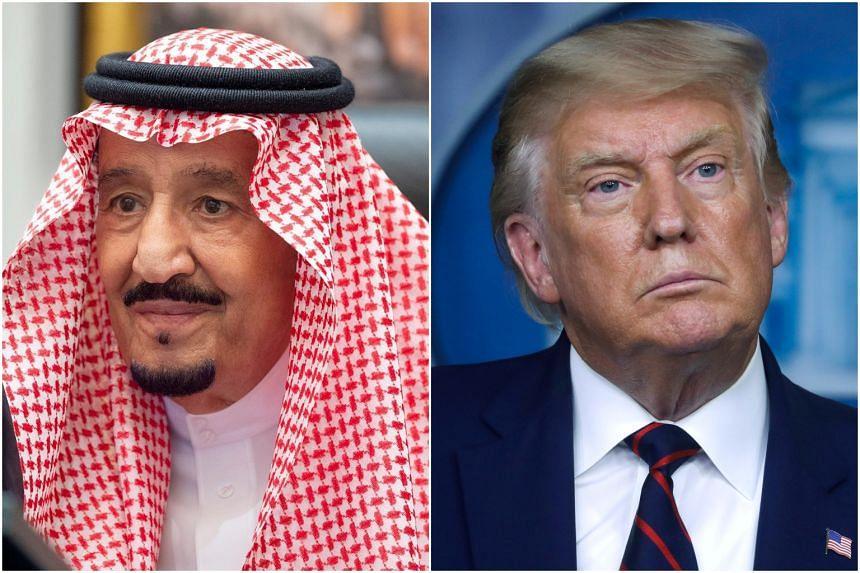 Saudi Arabia's King Salman bin Abdulaziz (left) told US President Donald Trump he appreciated US efforts to support peace.