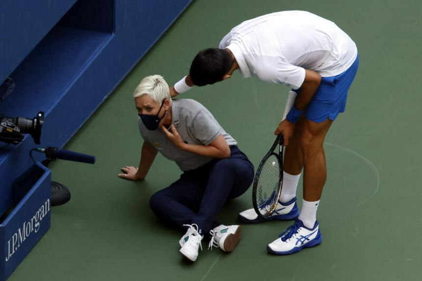 Novak Djokovic inadvertently hit a ball into a line judge's throat during his fourth round match.