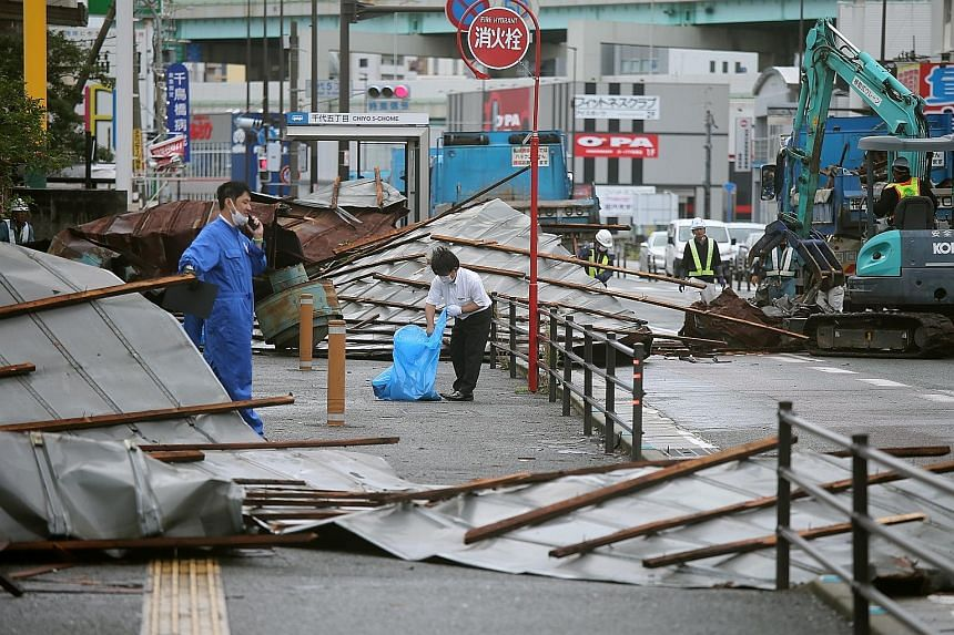 A street in Gangneung was submerged after Typhoon Haishen made landfall in South Korea yesterday morning. Local reports said about 1,640 people had to be evacuated and at least five people were injured.