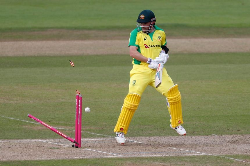 Australia's Aaron Finch in action during the second T20 International match between England and Australia on Sept 6, 2020.