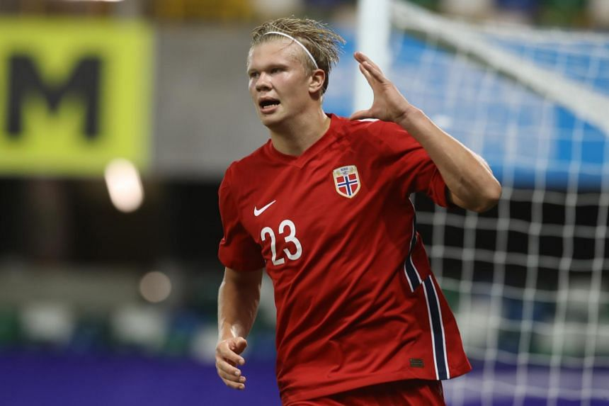 Norway's Erling Braut Haaland celebrates scoring their fifth goal in Belfast, Northern Ireland, on Sept 7, 2020.