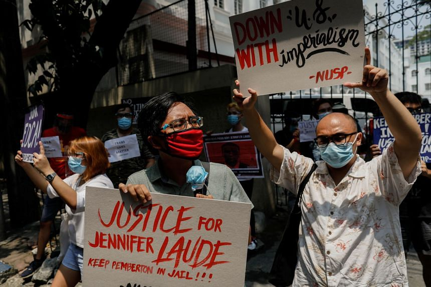 Protesters demonstrating in Manila last Thursday against the early release granted to US soldier Joseph Scott Pemberton.