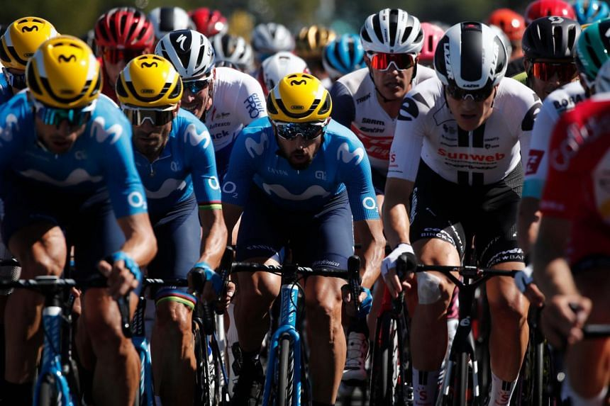 Cyclists in the peloton at Stage 10 of the Tour de France, on Sept 8, 2020.