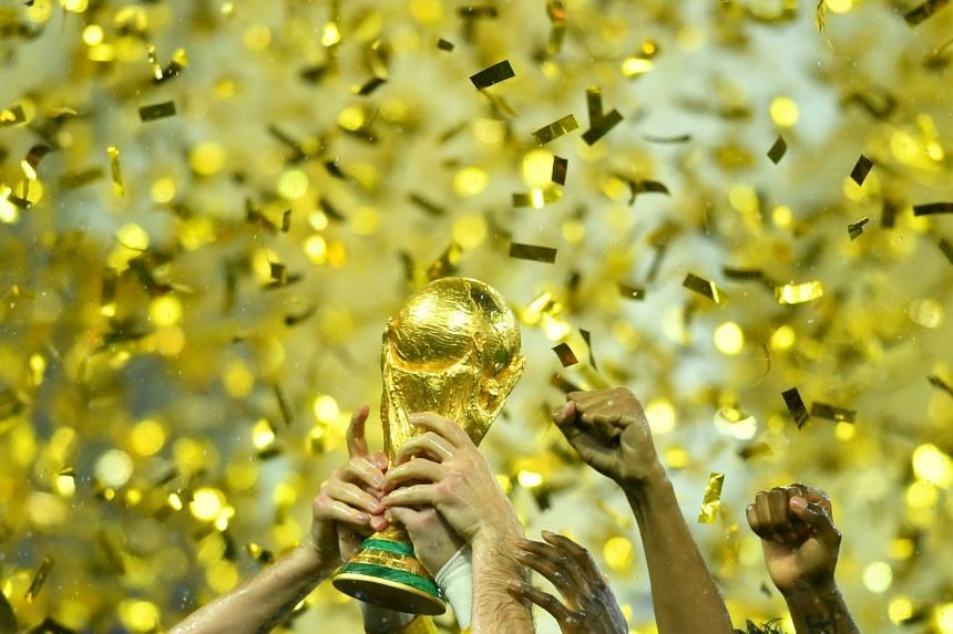 Hugo Lloris lifts the trophy as France celebrate winning the World Cup in 2019.