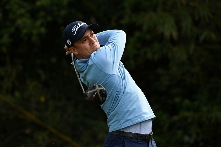 Thomas tees off on the 11th hole during the first round of The Players Championship in March 2020.