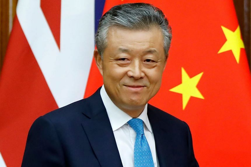 China's ambassador to Britain Liu Xiaoming arrives to speak to members of the media at the Chinese Embassy in London in February 2020.