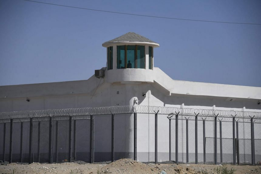 A watchtower near what is believed to be a re-education camp in Hotan, China, on May 31, 2019.
