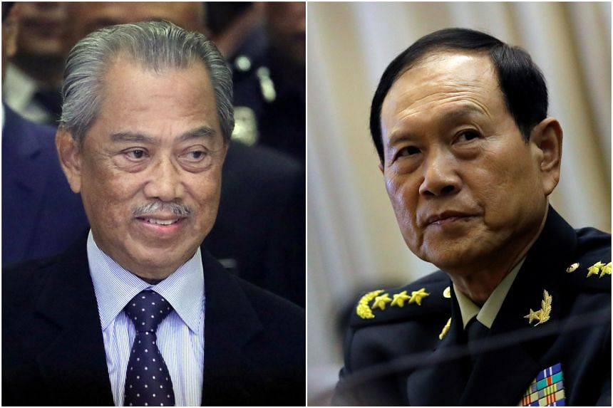 Malaysian Prime Minister Muhyiddin Yassin (left) met with Chinese State Councilor and Defence Minister Wei Fenghe on Sept 7, 2020.