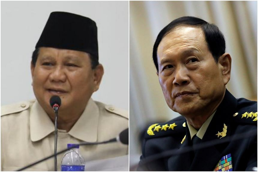 Mr Prabowo Subianto (left) and Mr Wei Fenghe also discussed the possibility of holding joint military drills and personnel training, and investments in Indonesia's food estate projects.