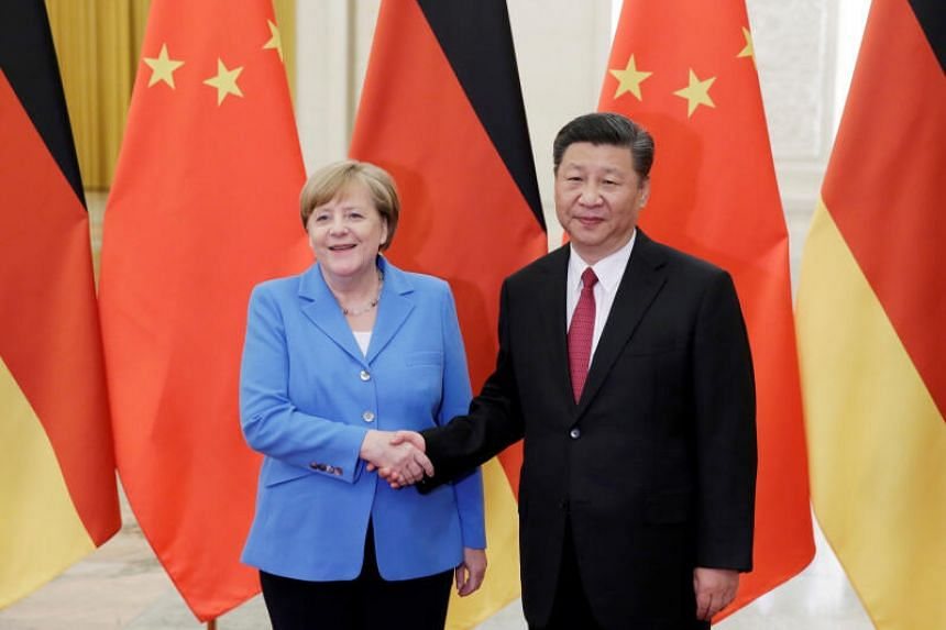 Chinese President Xi Jinping with German Chancellor Angela Merkel in Beijing in May 2018.