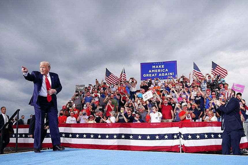 US President Donald Trump at a campaign rally on Tuesday at Smith Reynolds Regional Airport in Winston-Salem North Carolina- a swing state that went his way in 2016 but threatens to flip to rival Joe Biden